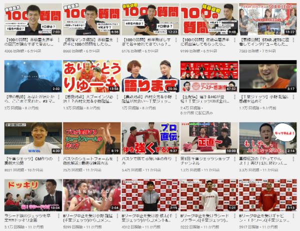 千葉ジェッツの公式Youtubeチャンネルを除くと、試合以外の多岐に渡る動画が目に付く