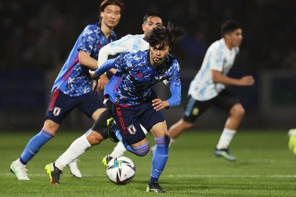 U-24アルゼンチン代表との第一戦(0-1)では思うようなプレーができなかった三笘