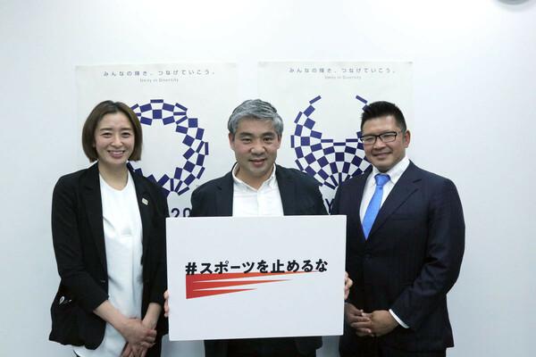 「スポーツを止めるな」の(左から)伊藤華英理事、最上紘太共同代表理事、野澤武史代表理事。立ち上げの経緯と現在の活動、今後の展開について語ってもらった