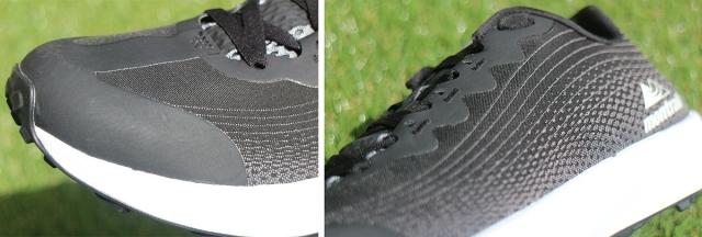(左)大き目のトウキャップがトレイルシューズだと主張している。 (右)ジャカード織の美しいアウトサイド。