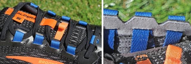 シューレースを通すブルーのループは、実はベルトになっていてソールまで繋がっている。