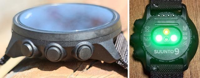 (左)「SUUNTO 9」のボタンは右側に3つのみ。 (右)光学心拍計は信頼の3LED仕様。