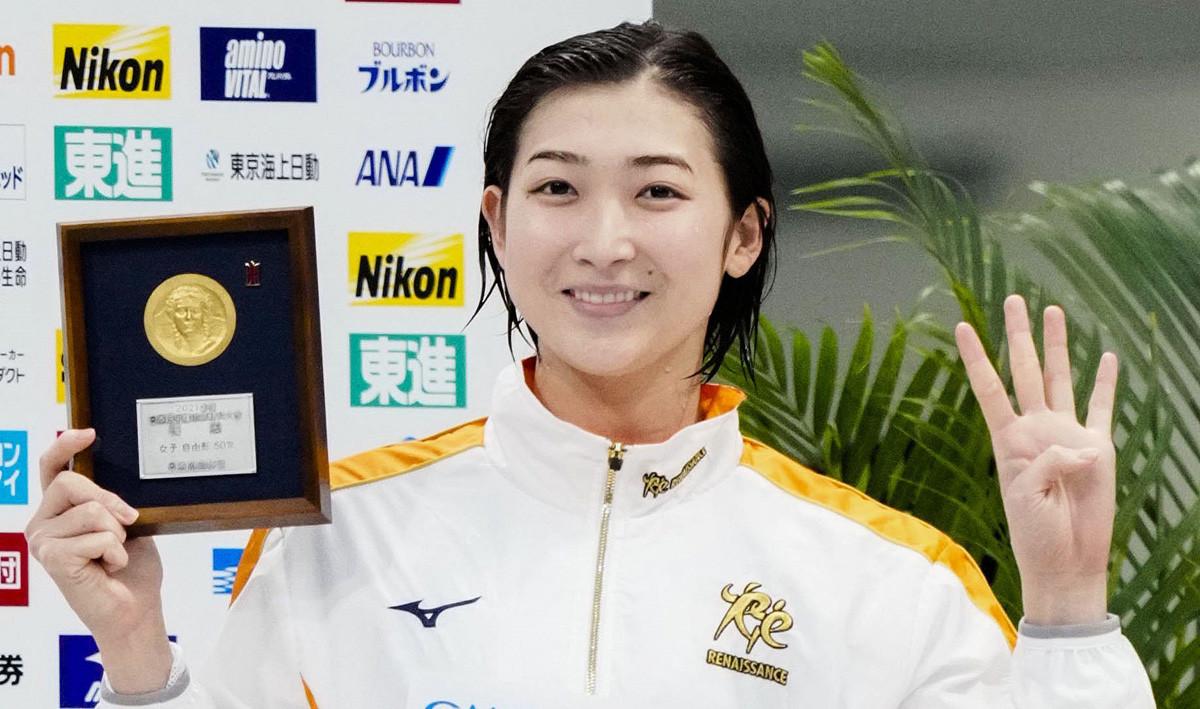競泳日本選手権で4種目優勝、リレーメンバーとして東京五輪代表に内定した池江。白血病から復帰し見事な活躍を見せた