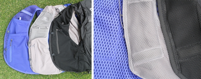 フロントポケットとその裏のメッシュの違い。左より「ACTIVE SKIN 8 SET」「SENSE PRO 10 SET」「ADV SKIN 12 SET」。