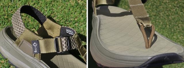 (左)アジャストは足首部分1箇所のみ。 (右)フットベッドは足裏に合わせた立体形状。