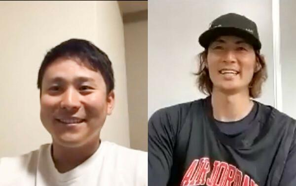 オンラインで実現した対談で、初代キャプテンの石川さん(写真右)は自身の経験を語りながら佐野選手(写真左)へ激励の言葉を送った