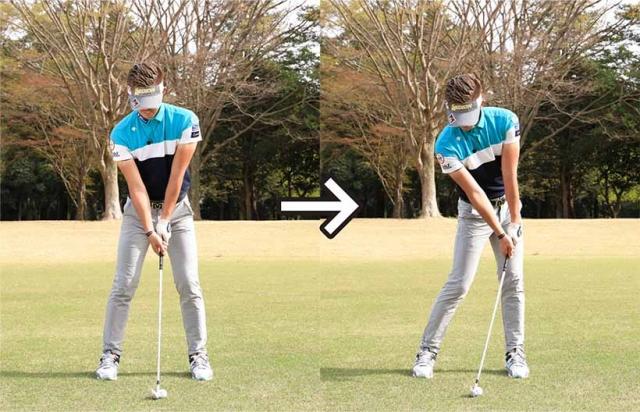 アドレスしたら体重を左足に押し込む感じでインパクトの形を作ってからテークバックを開始すると効果的。
