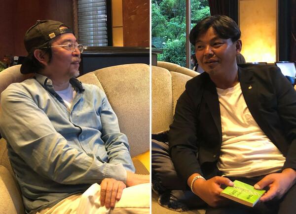 金子氏(左)の著書『28年目のハーフタイム』について、「すっごく衝撃的だった」と感想を語った城氏(右)。では、作中に城氏の章がなかった理由とは──(新型コロナウイルスの感染防止に努め、撮影時のみマスクを外しました)