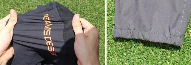 (左)かなりしっかりストレッチするので、ランの動きにしっかりとフィットする。 (右)ロングパンツは裾を絞ったジョガータイプ。
