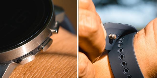 (左)丸型から変更されたボタンはクリック感が心地良い。(右)ワンタッチで取り付けられる金属製の固定ピンは素晴らしいアイディア。