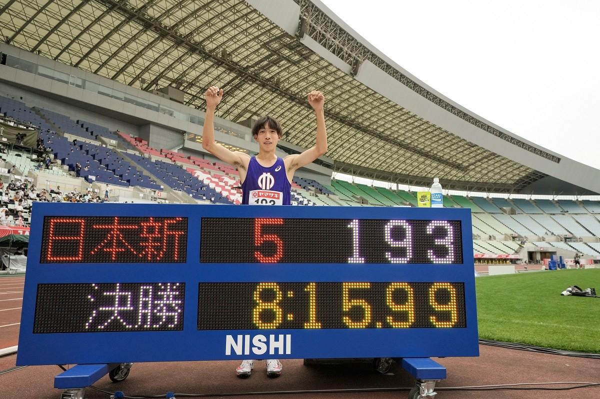 三浦は転倒のアクシデントをものともせず、今季2度目となる日本新をたたき出した