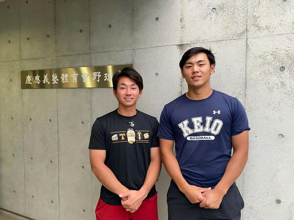 現在は慶大でチームメイトの福井(左)と若林(右)。それぞれ大阪桐蔭、履正社の主将として、大阪、そして全国の頂点を争った2人が、高校最後の夏についてとことん語ってくれた