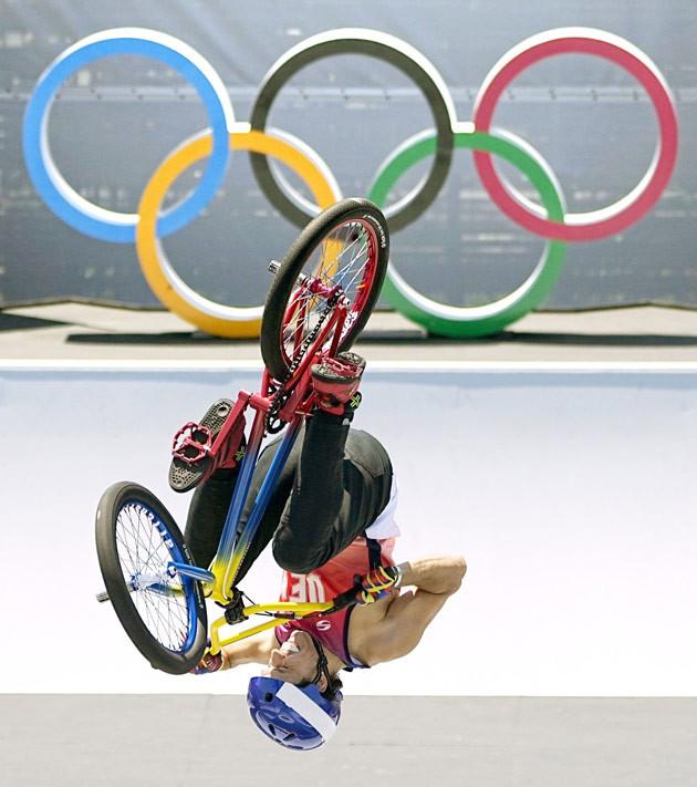 男子BMXフリースタイル・パーク決勝 2位のデルス=有明アーバンスポーツパーク