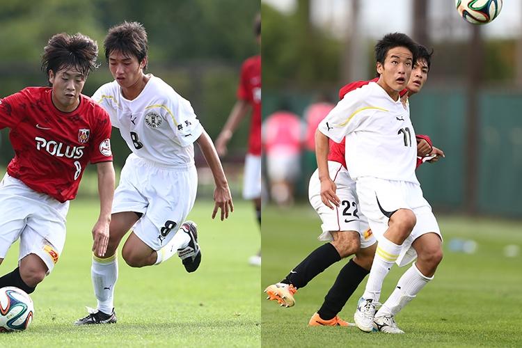 2014年に浦和レッズユースと対戦した時の小泉佳穂(左)と坂元達裕(右)